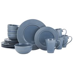 Italian Countryside Accents Fluted Blue 16 Piece Dinnerware Set