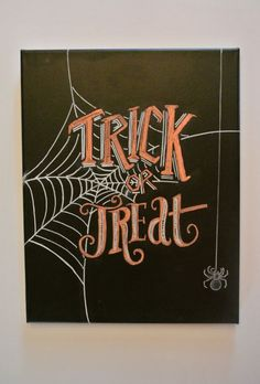 Halloween Chalkboard Art on Canvas: Trick or by nicolehragyil Paint this on gesso canvas to hang anywhere and roll to store. Fall Chalkboard Art, Halloween Chalkboard Art, Chalkboard Doodles, Blackboard Art, Chalkboard Drawings, Chalkboard Lettering, Chalkboard Designs, Chalkboard Ideas, Chalkboard Art Kitchen