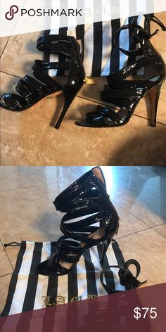 L.A.M.B black patent leather strap Stilettos Worn once, like brand new! Size 7. L.A.M.B. Shoes Heels
