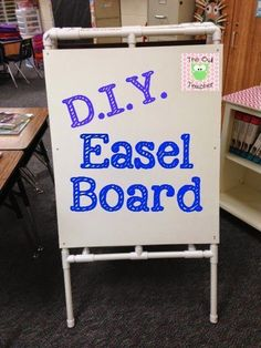 DIY Easel for your classroom with PVC Piping! * spray paint the crap out of the white! Classroom Furniture, Classroom Projects, Classroom Setup, Classroom Design, Kindergarten Classroom, Future Classroom, School Classroom, Classroom Hacks, Classroom Environment