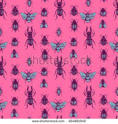 Seamless background with painted manually realistic beetles. Texture can be use for decoration of office supplies, books, paper for scrapbooking, paper for packaging, textile, web design