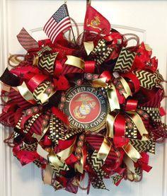Military Wreath, US Marine Corp Wreath, USMC Wreath, Military Gift, Custom Wreath