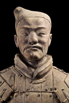 Close-up of a terra-cotta soldier, Qin Dynasty, (221–206 BC.