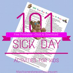 101 #Sick Day Activities for #Kids Free #Printable
