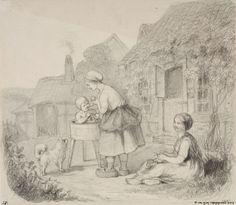 Ekman, Anders Talonpoikaisnainen kylvettämässä lastaan tuvan pihassa, oikealla maassa istuva neulova nainen, vasemmalla koira., lyijykynä
