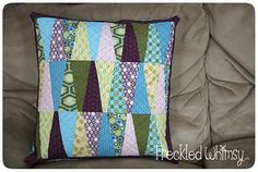 Freckled Whimsy: Pillow Talk Swap 4 Tutorial (Good tute for pillow construction and adding an envelope back -- need to see another tute for layering and quilting the front)
