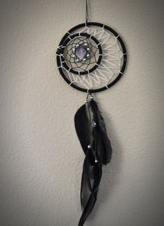 Dream Catcher Black Crescent Moon with Amethyst by ReinaJewelers, $39.00