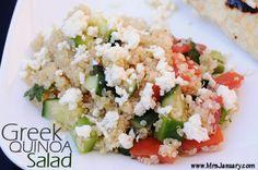 Greek Quinoa Salad via MrsJanuary.com #quinoa #recipe