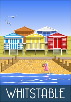 Beach Huts, Tankerton, Whitstable. Railway Poster style Illustration by www.whiteonesugar.co.uk Drawn by Nigel Wallace of White One Sugar