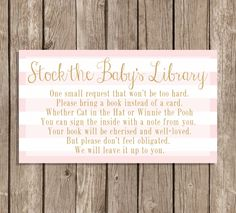 Book request insert card Instant Download Baby Girl Baby Shower  Pink Gold by SweetEventsBoutique on Etsy https://www.etsy.com/listing/204352999/book-request-insert-card-instant