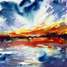 """Fiery sunset"" - Original Fine Art for Sale - © Mikko Tyllinen"