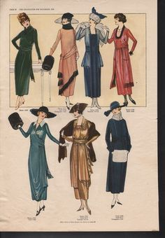 "November, 1918 fashion page from ""The Delineator""."