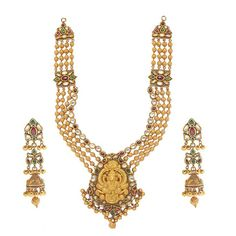 A kundan necklace and matching earrings from the new Temples of India collection by Anmol Jewellers.