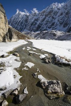 Upper Langtang Glacier, Nepal  Small stream flowing beside lateral moraine of Upper Langtang Glacier.