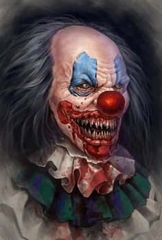 I love Art ,Horror and other nice things. Le Clown, Creepy Clown, Zombies Zombies, Art It, Portraits Illustrés, Arte Black, Clown Tattoo, Zombie Tattoos, Angels And Demons