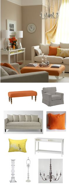 Orange is so fresh with a cream palette in a contemporary living room. #colorfridays