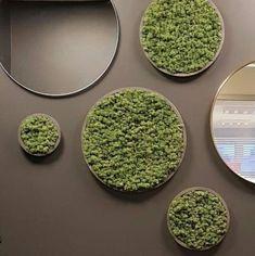 Norsk håndlaget mose gir liv og tekstur til veggen Wall Design, House Design, Moss Wall Art, Store Layout, Living Room Inspiration, Apartment Design, Autocad, Store Design, Decor Crafts