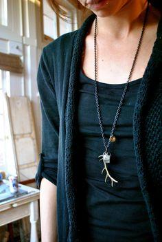 Pretty elk antler treasure necklace