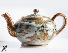 Vintage Early to Mid Century Hand Painted Japanese Teapot with Japanese/Geisha Scenery Detailing - Dark Orange and Gold