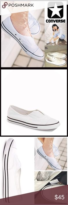 CONVERSE SNEAKERS Stylish Slip On Sneakers CONVERSE SNEAKERS Stylish Slip On Sneakers  SIZING: Women's, true to size  COLOR: White, black, black stripe  ABOUT THIS ITEM * Rubber cap toe * Slip on style * Elastic gore inset for a comfortable fit * Black stripe outsole * Topstitch detail MATERIAL Textile upper & linining, rubber sole Ballet flats ❌NO TRADES❌ ✅BUNDLE DISCOUNTS✅ OFFERS CONSIDERED (Via the offer button only)  ITEM# SEARCH WORDS #  No lace lace less cove all star Chuck Taylor…