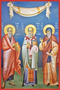 The Three Theologians (John, Gregory, and Simeon) Russian Orthodox icon Byzantine Icons, Byzantine Art, Greek Icons, Saint Gregory, Russian Orthodox, Art Icon, Orthodox Icons, Christian Art, Kirchen