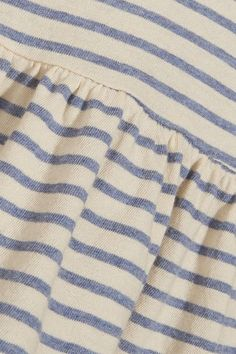 The Great - The Ruffle Striped Cotton-jersey T-shirt - Blue - 2