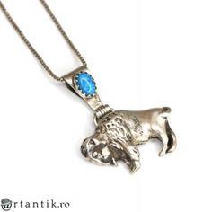 colier amerindian cu amuleta bizon - argint si turcoaz - Statele Unite