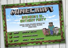 Minecraft Inspired Birthday Banner Printable by DooZooDesigns PERSONALIZED www.etsy.com/shop/DooZooDesigns