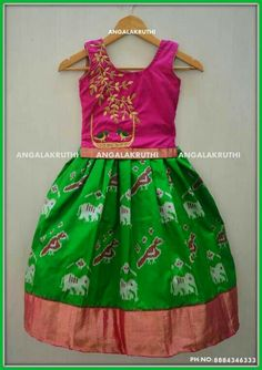 pattu lehenga designs with hand embroidery embroidery designs for kids pattu pavada pavada designs by Angalakruthi traditional pattu lehenga designs Kids Lehanga Design, Kids Frocks Design, Kids Lehenga, Baby Lehenga, Kids Dress Wear, Kids Wear, Kids Ethnic Wear, Kids Blouse Designs, Kids Dress Patterns