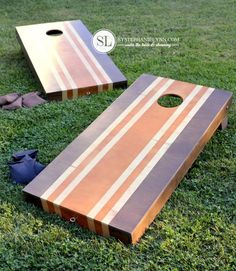 Painting Cornhole Boards | stained stripes - bystephanielynn