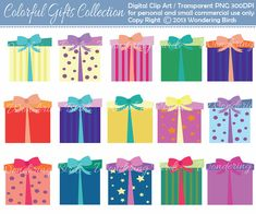 Gifts Clipart  Digital Clip Art Instant Download por WanderingBirds
