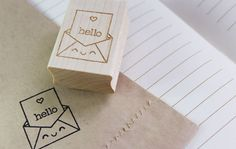 Kawaii Hello Stamp from paperglitter.com  ||| DIY, planner, stationery, happy envelope, rubber, for being cute