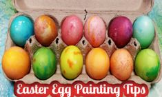 Painted Easter Eggs with Egg Painting Tips Craft Projects For Kids, Arts And Crafts Projects, Easy Easter Crafts, Plastic Tablecloth, Painting Tips, One Color, Easter Eggs, Decorating Ideas, Classy