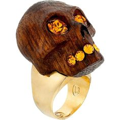 Alexander McQueen Wood Skull Ring, Tan ($190) ❤ liked on Polyvore featuring jewelry, rings, tan, alexander mcqueen, skull jewelry, skull ring, sparkle jewelry and wooden rings