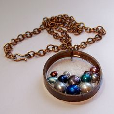 Recycled copper pipe pendant with resin and pearls Up-cycled jewelry