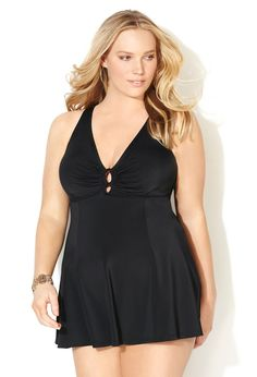 Ring Swimdress with Tummy Control Panel-Plus Size Swimwear-Avenue Plus Size Womens Clothing, Plus Size Outfits, Clothes For Women, Swimsuits For All, Women Swimsuits, Curvy Fashion, Plus Size Fashion, Chic And Curvy, Curvy Style