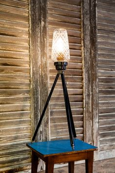 Table and floor lamp -Upcycled Vintage Camera Tripod and Alcohol Shaker