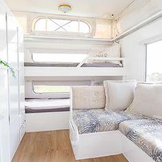 Pop-top caravan renovations - kids bunks tucked down one end of the caravan Caravan Bunk Beds, Rv Bunk Beds, Diy Caravan, Caravan Living, Caravan Home, Caravan Decor, Kombi Home, Retro Caravan, Pop Up Caravan