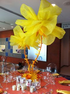 2012 Opening Gala, Ann & Robert H. Lurie Children's Hospital of Chicago. Table centerpiece of whimsical mesh and paper flowers designed by Jami Darwin