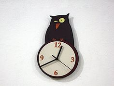 Owl Cartoon - Wall Clock. ❂ 3mm thick black mat acrylic face with high quality printed vinyl on it ❂ My clock mechanisms are EZ Quartz® Sweep (Non Ticking - Silent) and RoHS Approved! ❂ Requires 1 AA battery (not included).