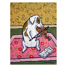 Jack Russell Terrier Playing the Violin Dog Art Print by lulunjay, $17.99