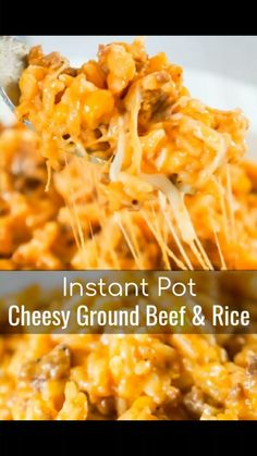 Instant Pot Cheesy Ground Beef and Rice Instant Pot Cheesy Ground Beef and Rice is an easy pressure cooker ground beef dinner recipe perfect for beginners. This Instant Pot ground beef dish is loaded with rice, corn and cheese in a creamy tomato sauce. Ground Beef Recipes For Dinner, Dinner With Ground Beef, Ground Beef Rice, Easy Ground Beef Meals, Recipes With Ground Beef Videos, Ground Beef Crockpot Recipes, Hamburger Recipes, Ground Turkey, Best Instant Pot Recipe