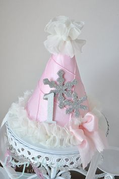 Shabby Chic First Birthday Winter Wonderland Snowflake Birthday Hat by propshopboutique First Birthday Winter, Winter Wonderland Birthday, Baby Girl First Birthday, Baby Girl Birthday, Birthday Pins, Birthday Ideas, Newborn Hair Bows, Winter Wonderland Decorations, Twins 1st Birthdays