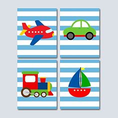 Transportation Nursery Wall Art, Transportation Kids room Decorations, Boy Nursery Wall Art, Cars Plane Train Boat Wall Art- UNFRAMED Set of 4 PRINTS (NOT CANVAS)