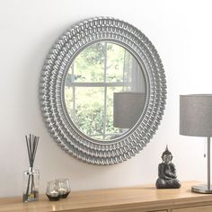 Seville Grey and Brushed Silver Round Wall Mirror - x - CFS Furniture UK Funky Mirrors, Grey Wall Mirrors, Cheap Mirrors, Hallway Mirror, Living Room Mirrors, Round Wall Mirror, Round Mirrors, Bedroom Mirrors, Framed Mirrors