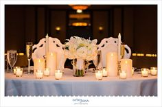 Sweetheart table at wedding reception at the Cleveland Marriott Downtown at Key Center by Corey Ann Photography