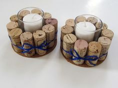 Wine Cork Votive Holders with Blue Ribbon-Set of Two