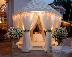 decorate a gazebo with outdoor curtains to make a romantic retreat or a wedding canopy, gift table, wedding cake showcase room!   gifte-mart.com
