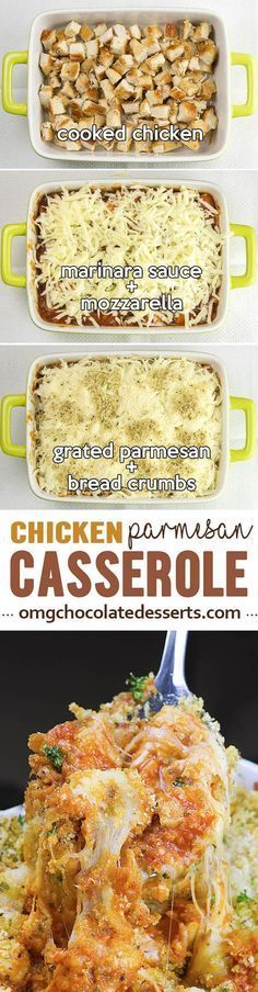 Chicken Parmesan Casserole served with pasta is quick, HEALTHY and EASY WEEKNIGHT DINNER for whole family. It's SIMPLE, FREEZER FRIENDLY RECIPE and great idea how to use up leftover chicken.