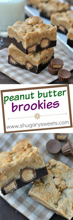 A chocolate brownie layer topped with peanut butter cookie and Reese's peanut butter cups! That's how you make Peanut Butter Brookies!